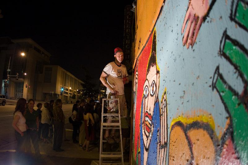 "<a href=""http://www.sesow.com"" target=""blank"">matt sesow</a> at work on the 24 hour mural."