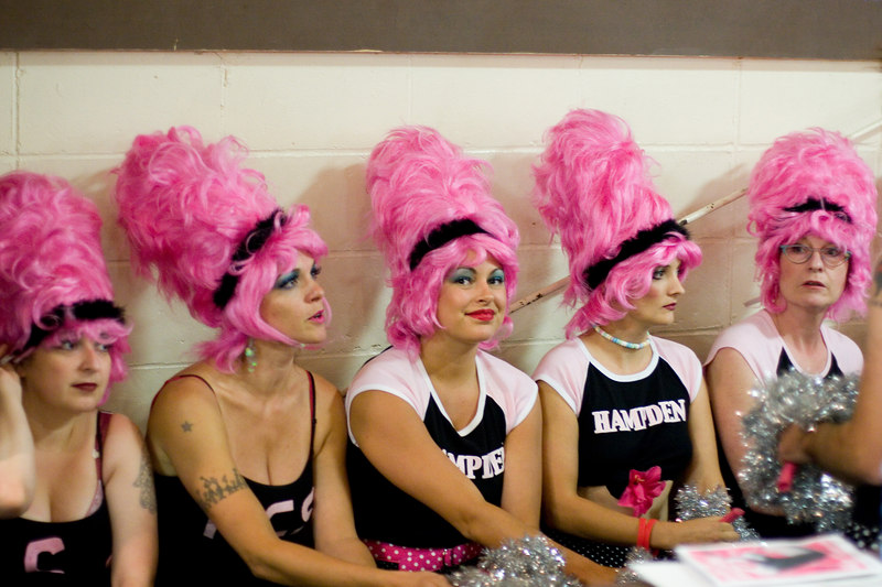 The Hampden Charm School Cheerleaders, waiting to perform with Trixie Little and Evil Hate Monkey.