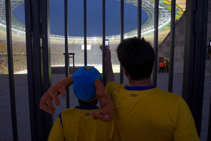 Sweden fans capture their memory of the Olympiastadion in Berlin.