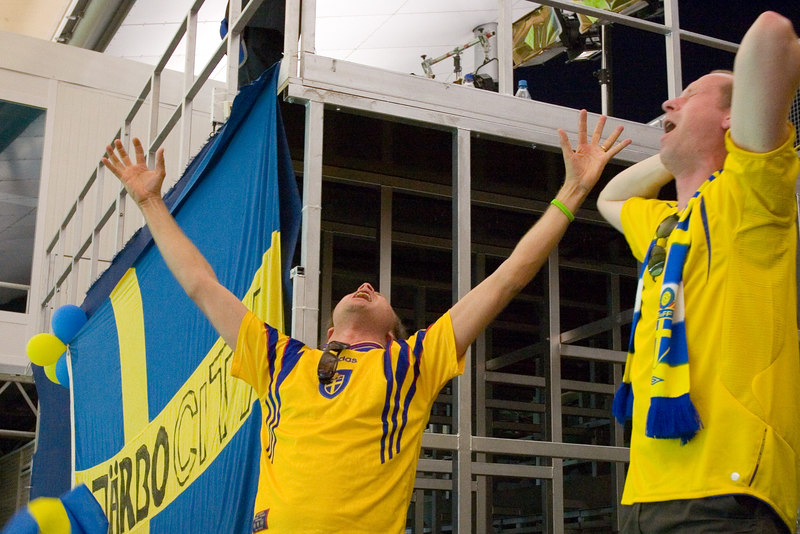 Ecstatic Sweden fans.
