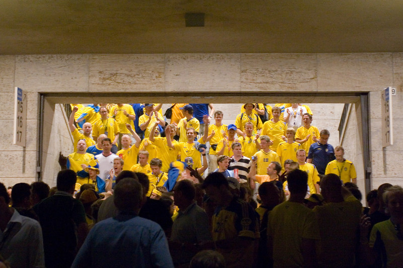 Sweden fans chant as they exit the Olympiastadion.