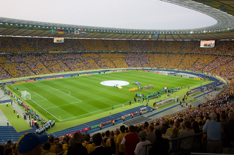 The famous Olympiastadion in Berlin 2 minutes before kickoff of the Sweden Paraguay game.