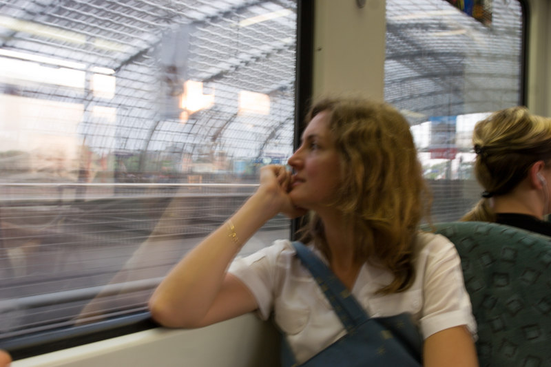 Blurry Debbie taking her inaugural train ride from Berlin's shiny new Hauptbahnhof.