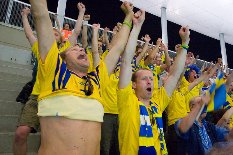 The final whistle blows, Sweden fans celebrate victory over Paraguay.