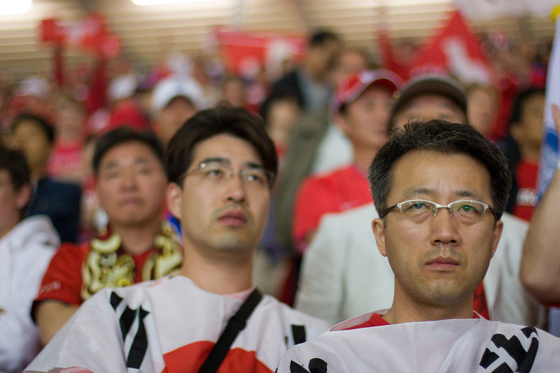 Hope turns to anguish as the final whistle blows and South Korea has lost 2-0 to Switzerland and, thanks to France's defeat of Togo, has been knocked out of the 2006 World Cup in the first round, a huge let-down after reaching the semi-finals in 2002.
