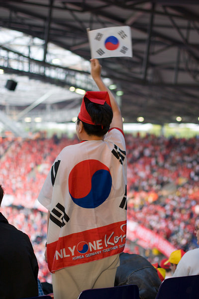 South Korea fan in Hannover stadium for the game with Switzerland.