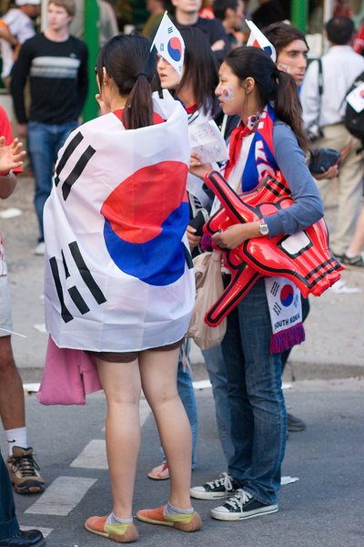 South Korea fans with the ubiquitous flag poncho.