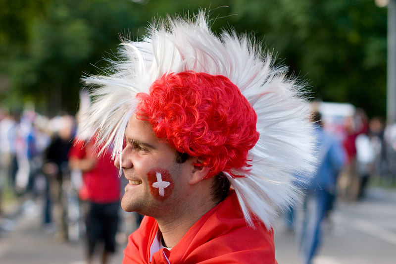 Switzerland fan with mohawk wig outside the stadium in Hannover.