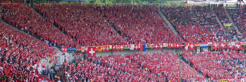 A massive block of Switzerland fans at Hannover stadium for the game against South Korea.