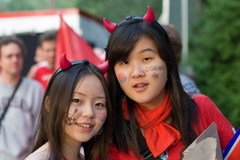 South Korea fans outside the stadium in Hannover.