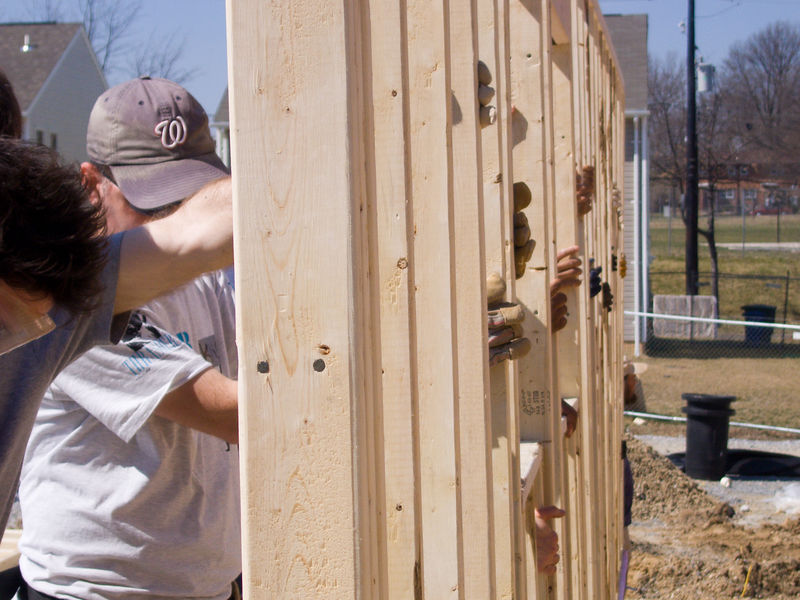 first wall goes up on this Habitat house, 55th and Clay Streets NE