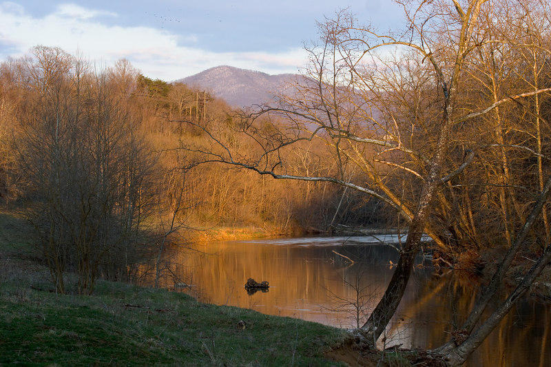 the Maury river with Short Hills in the background, from the Chessie Trail, Lexington VA