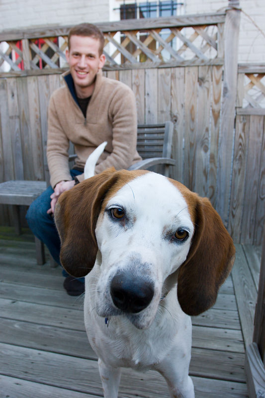 """sully and michael.<br /> <br /> Sully was adopted from the Washingon Animal Rescue League.  He was one of the dogs rescued by WARL from the infamous Arkansas """"kennel"""" that turned out to be selling dogs for medical research - full story here: <a href=""""http://www.warl.org/newsletter/press.php?press=11&totalno=15&pageno=2"""">http://www.warl.org/newsletter/press.php?press=11&totalno=15&pageno=2</a>"""