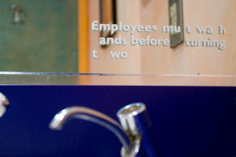 bathroom notice in a restaurant in Tenleytown