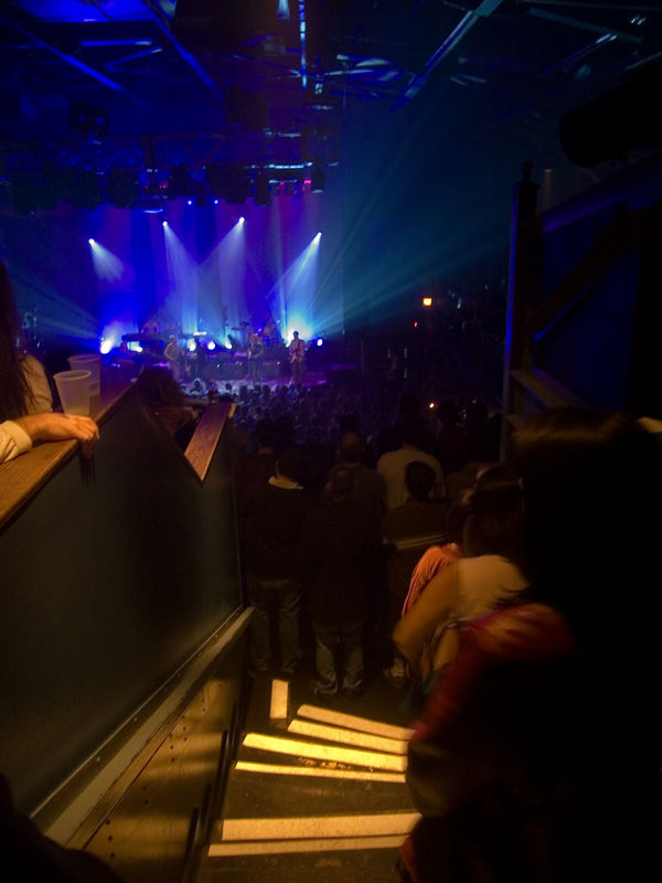 the stairs leading to a view of belle and sebastian, 9:30 club