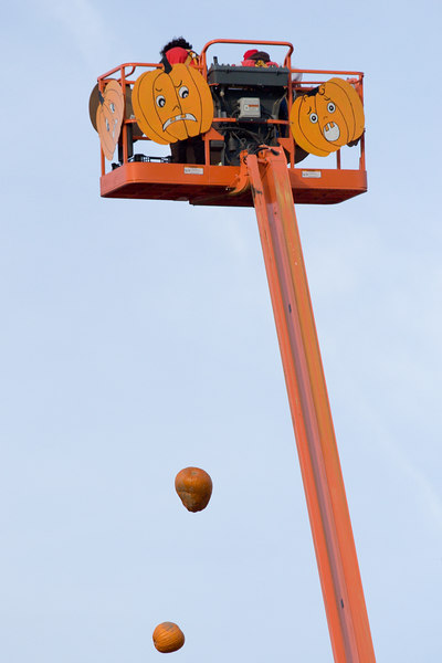 dropping pumpkins from the cherry picker