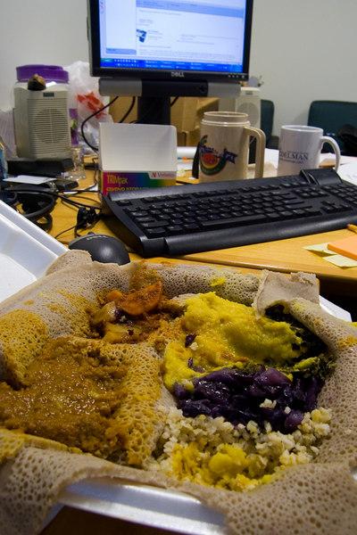 mmmmm... ethiopian veggie platter.
