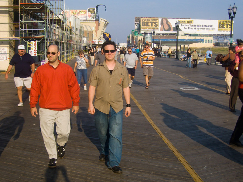 paul and mike walking the boards.