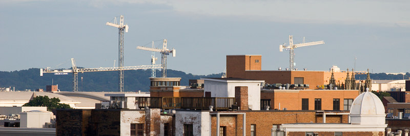 cranes on the skyline, somewhere in Logan Circle