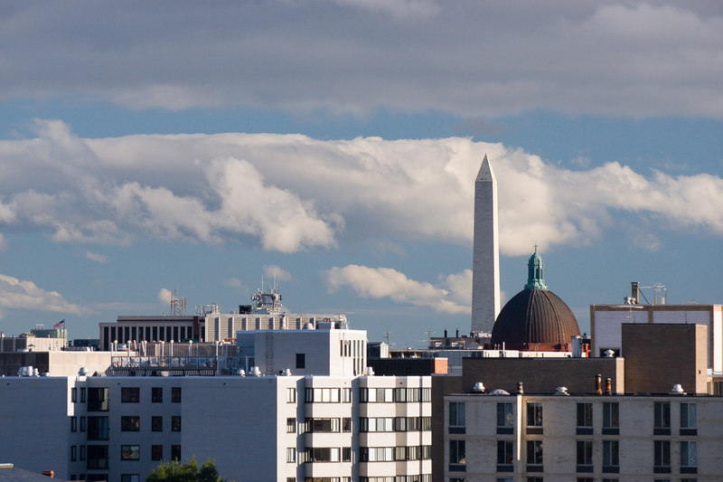 the Washington Monument and the dome of St Matthew's cathedral