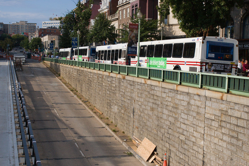 the four blocked number 42 buses.