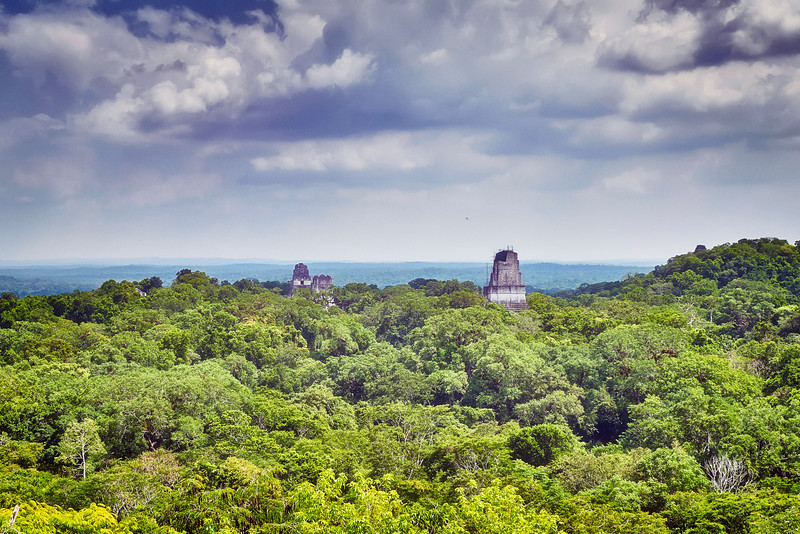 Far away. Inside Guatemala rainforest. Tikal was the capital of a conquest state that became one of the most powerful kingdoms of the ancient Maya. Was lost in rainforest for ages...