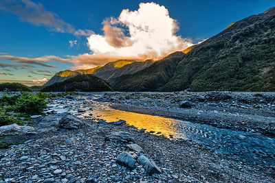 Sunset over Franz Josef glacier