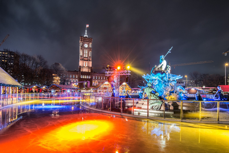 Mans made ice for Berlin visitors and citizens. Christmas coming to town.