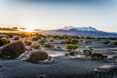 Sunset in Tongariro. New Zealand.