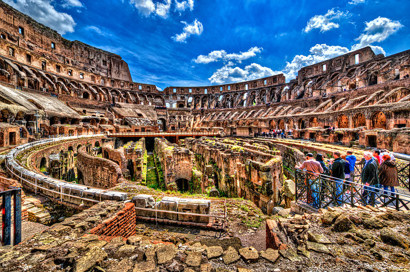 Looking for the Gladiators.<br /> The Colosseum today is now a major tourist attraction in Rome with hundred of thousands of tourists each year paying to view the interior arena.
