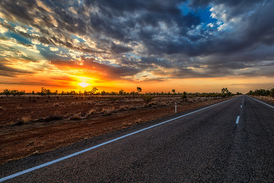 1000 km away from civilisation. Sunset Highway. Australia.