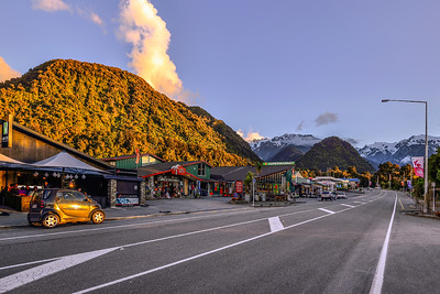 Sunset in New Zealand. South Island.