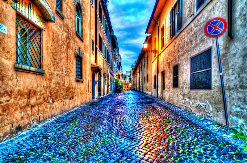 There is some empty streets in Rome, You jus't have to find them.<br /> <br /> All Roads Lead To Rome<br /> <br /> The Romans built roads wherever they went. Rome, the empire, spread along the roads. Using the roads implied a dependence on Rome; but avoiding them was inefficient and unmarketable.<br /> In fact, they built the roads in such a topology that there was a road from any city to Rome, but no road connecting more than two neighboring cities directly. That way cities could not band together to resist Rome, since to go from city A to B you had to pass through the long way: through Rome!