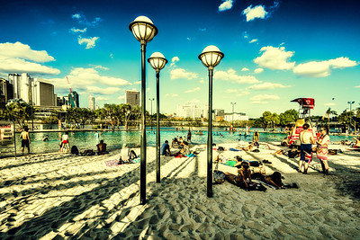 Beach. Downtown. Brisbane.