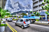 Traffic jam in Victoria city, Seychelles