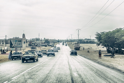 Entering Nouakchott, capital of Mauritania. 90% of Mercedes Benz 190D ever made - drives here...