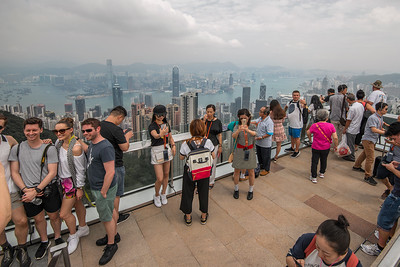 """looking for the people without """"selfie sickness"""" . The Victoria Peak, Hong Kong."""