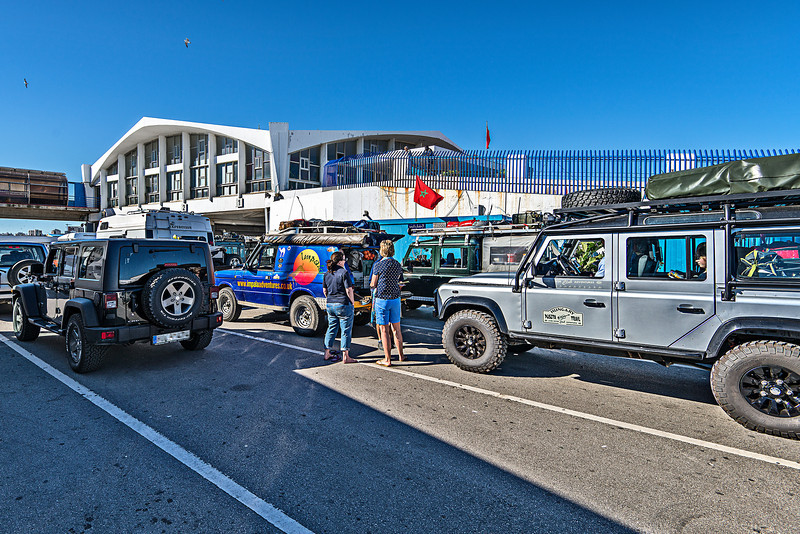 First steps in Africa. Tangier. Overlanders meets here. Lots of Land Rovers, and one Jeep Wrangler...