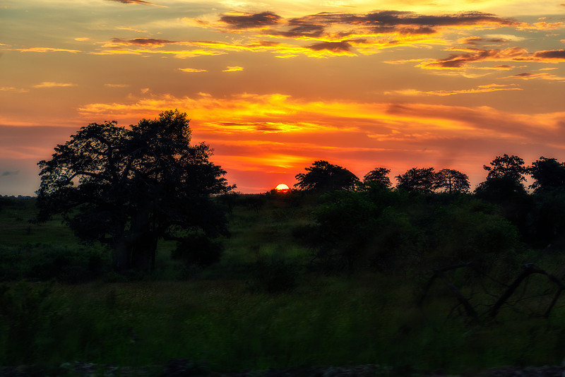 Sunset in Angola. Country, where diesel cost 0.3 EUR/l, and hamburger cost 37,- EUR (in Luanda).