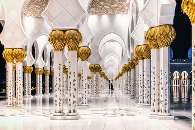 Secret corners of Grand Mosque. Abu Dhabi.