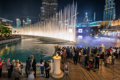 People watching Water Dance near Burj Khalifa. Dubai.