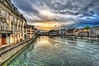 Sunset over Limmat river. Zurich.