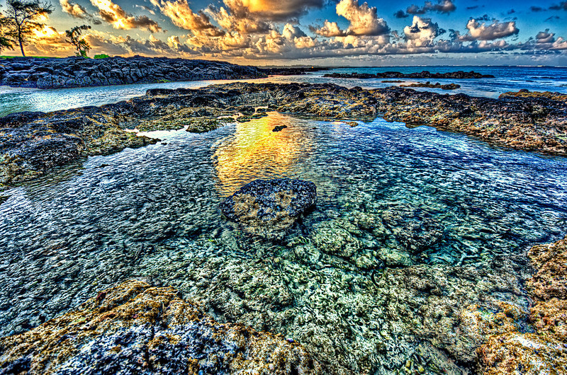 Sunset over coral reefs. Mauritius