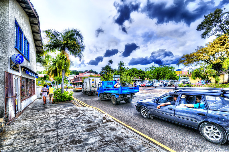 Traffic hour in Victoria downtown, Seychelles