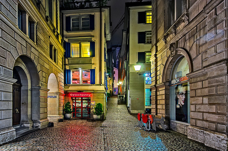 Night streets of Zurich
