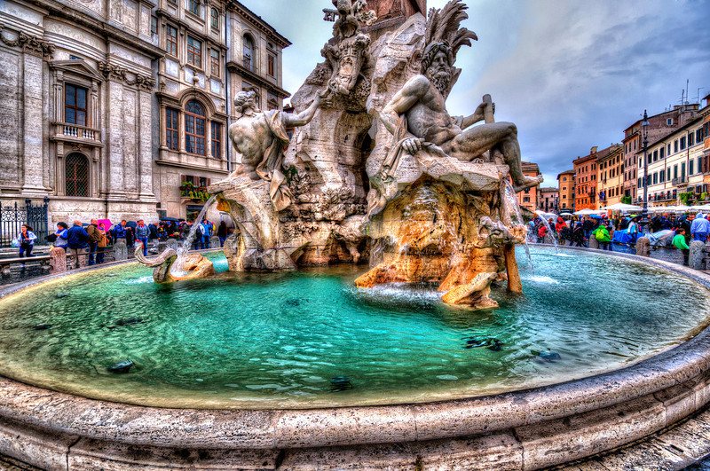 Not the Disneyland. Real Fountain from 1651 th at Piazza Navona. Rome.