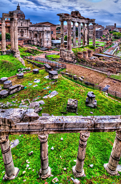 Foro Romano<br /> The Roman Forum was the centre of the civic and economic life of Rome in the Republican era and kept its prominent role even in the Imperial age. The monumental complex lies between the Capitol, the Imperial Forums, the Colosseum and the Palatine.