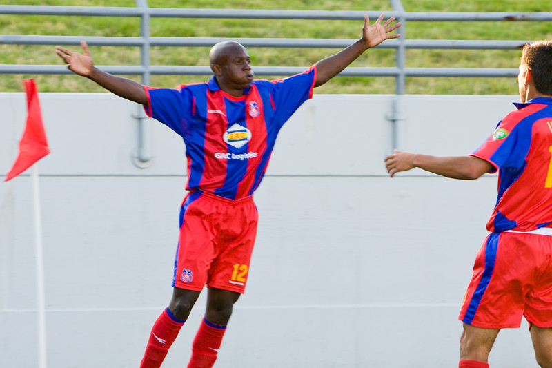 Matthew Mbuta celebrates the goal scored from his cross.