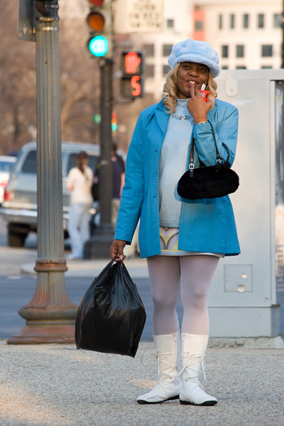 woman in blue, corner of 7th and constitution ave nw