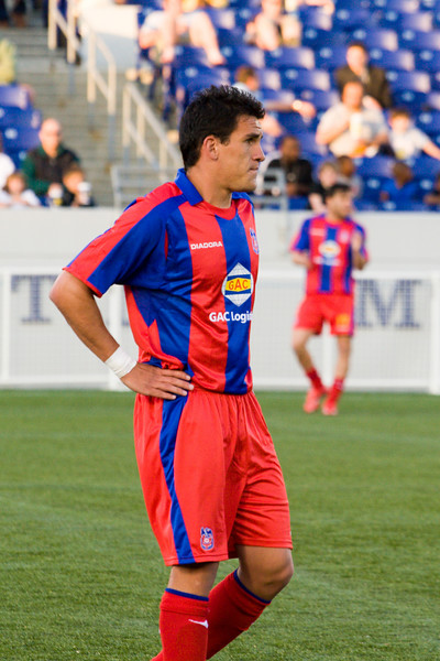 Palace's top scorer in pre-season games, Sergio Flores, looking frustrated.
